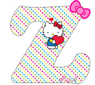 Alfabeto de Hello Kitty con Corazones.
