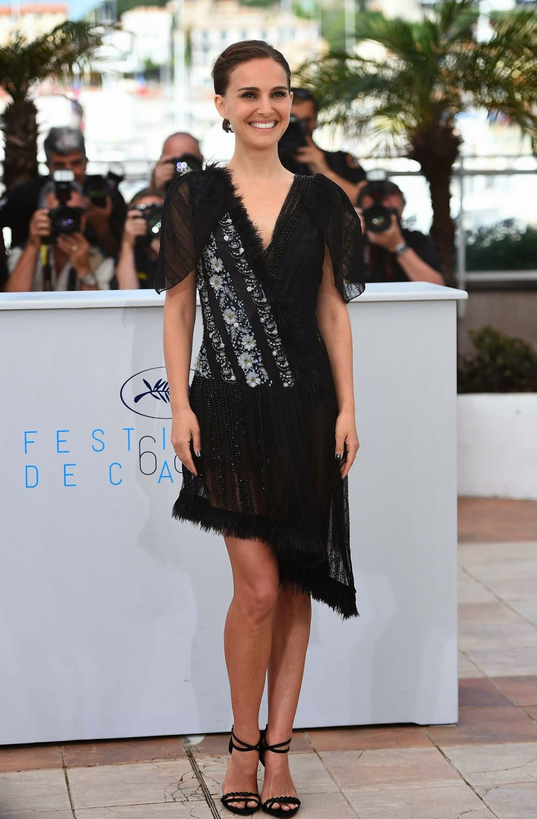 Natalie Portman in a sheer beaded dress at the 2015 Cannes Film Festival 'A Tale of Love and Darkness' photocall