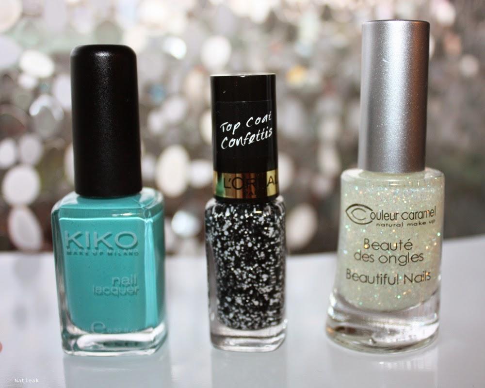kiko 344, vernis pailleté couleur caramel et top coat confettis l'Oréal