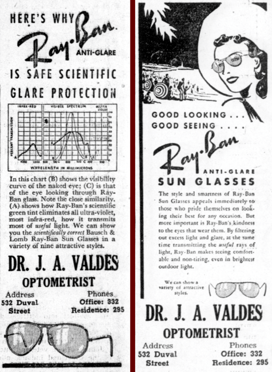 Ray-Ban newspaper ad 1940, April 20-27