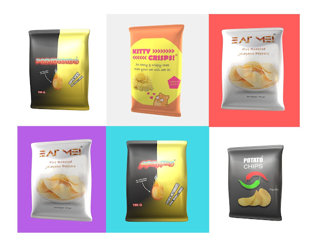 potato chips mockups with creative brand names