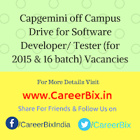 Capgemini off Campus Drive for Software Developer/ Tester (for 2015 & 16 batch) Vacancies
