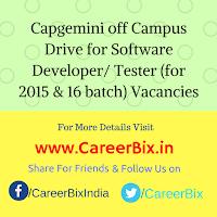 Capgemini off Campus Drive for Software Developer/ Tester (for 2015 & 16 batch) Vacancies