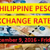PHILIPPINE PESO EXCHANGE RATES: December 9, 2016 - Friday
