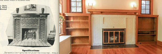 catalog image of Sears fireplace next to fireplace in LR of Sears Barrington 210 Ridgedale Rd, Ithaca, NY