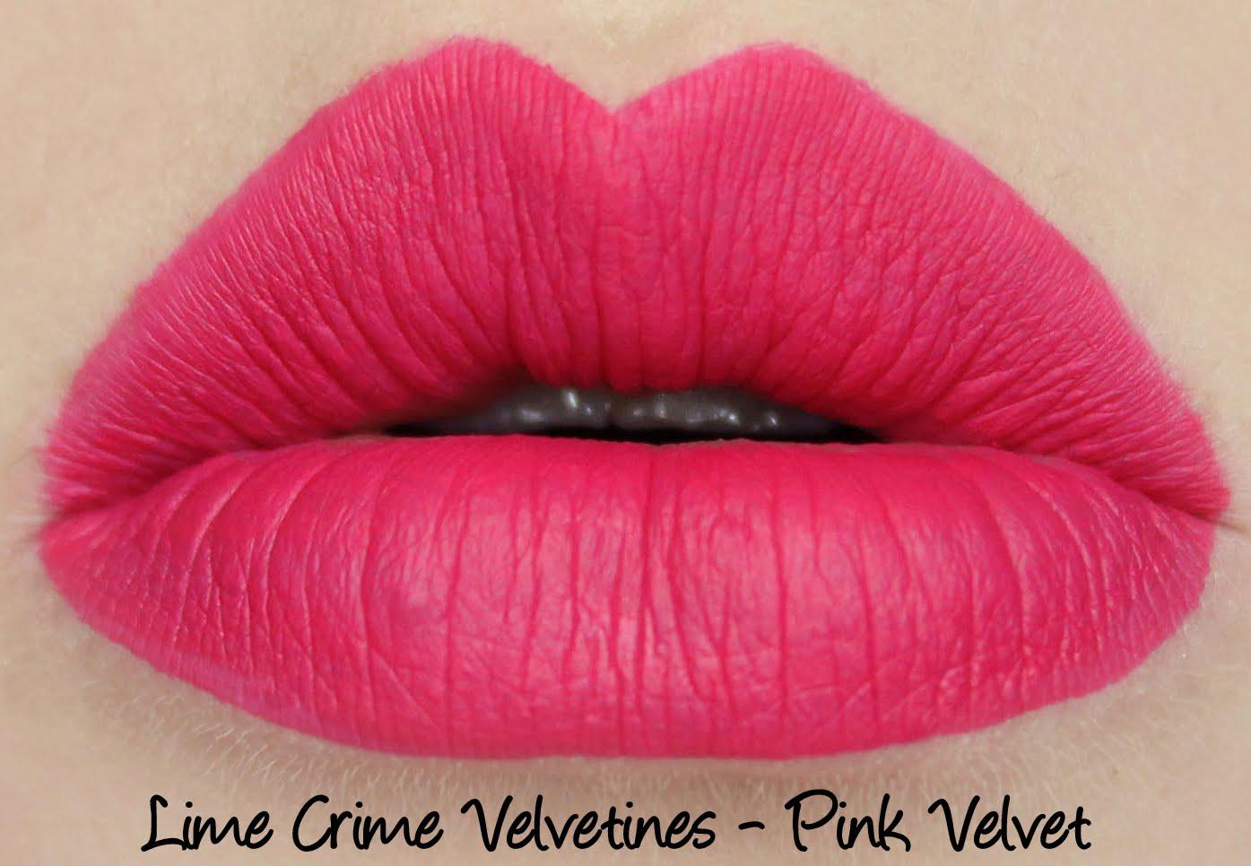Lime Crime Velvetine Pink Velvet lipstick swatch