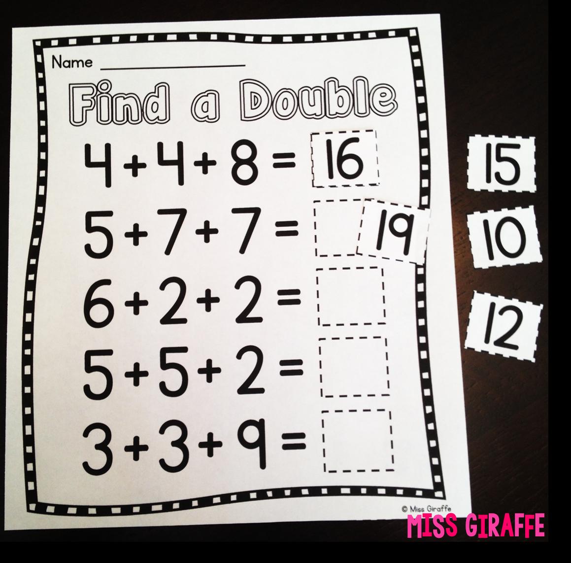 Miss Giraffe's Class: Adding 3 Numbers [ 1142 x 1159 Pixel ]