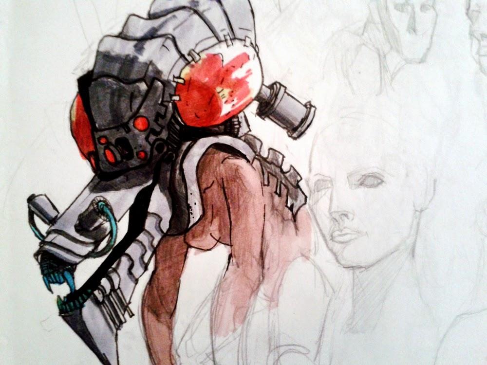 character design, sketchbook, alien creature, robot, female robot, sex robot, sex girl, android, androide, robot possession, sci-fi, robot slave, escrava robo, game, video game, douglas deri, deri, deriart