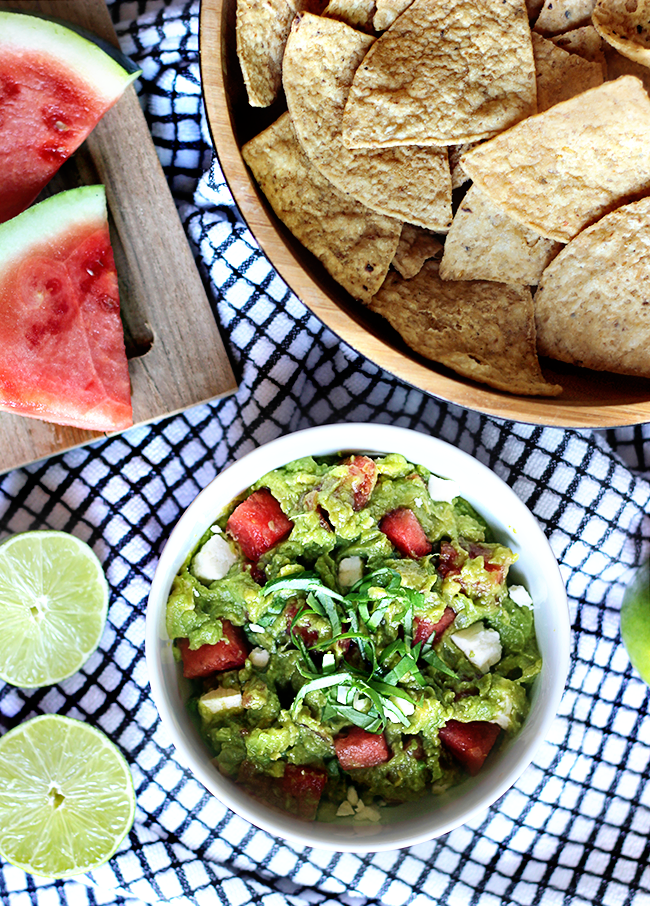 Summertime Watermelon and Feta Guacamole Dip