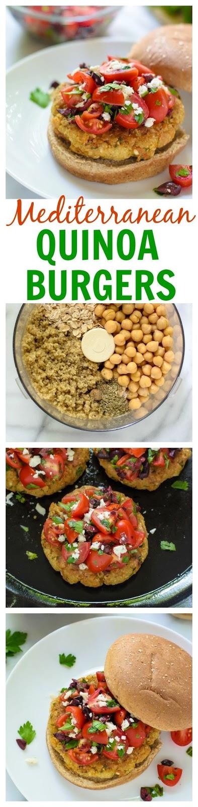 Mediterranean Quinoa Burger with Sun-Dried Tomatoes and Feta