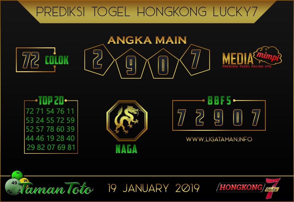 Prediksi Togel HONGKONG LUCKY7 TAMAN TOTO 19 JANUARI 2019