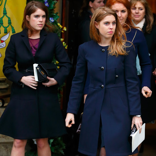 Sarah Ferguson, Duchess of York and her daughters Princess Eugenie and Princess Beatrice attend a memorial service for Miles Frost at the Arundel Cathedral