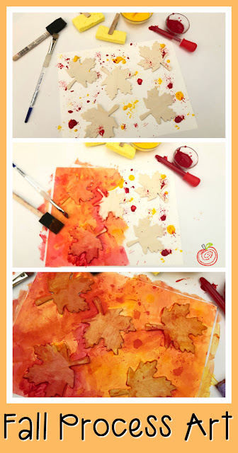 Explore mixing colors with preschool and Kindergarten students in this autumn process art project.