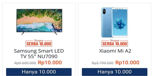 Hadiah Shopee!! SAMSUNG TV 55Inch dan Hp Xiaomi A2 4GB Hanya 10ribu!!