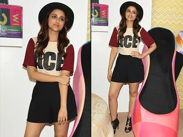 Parineeti Chopra Hot in Black Shorts Pics at Amazon India Fashion Week 2015
