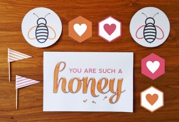 free printable honey bee valentines