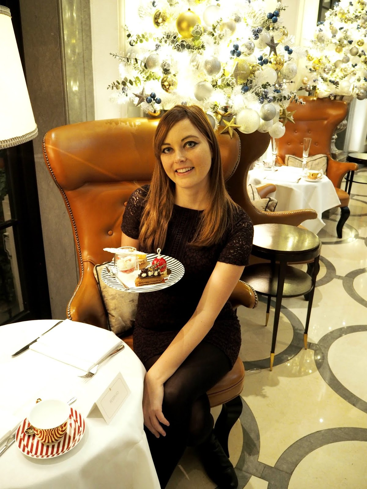 enjoying afternoon tea at the corinthia london