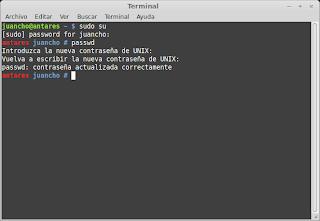 Cambiando la clave de root en Linux