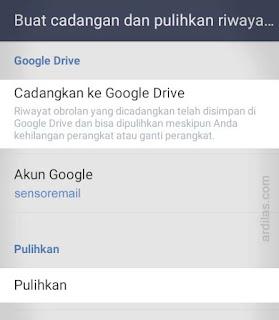 Tombol cadangkan ke Google Drive dan Pulihkan - Cara Keluar (Log Out Sign Out) Dari Aplikasi Line - Android