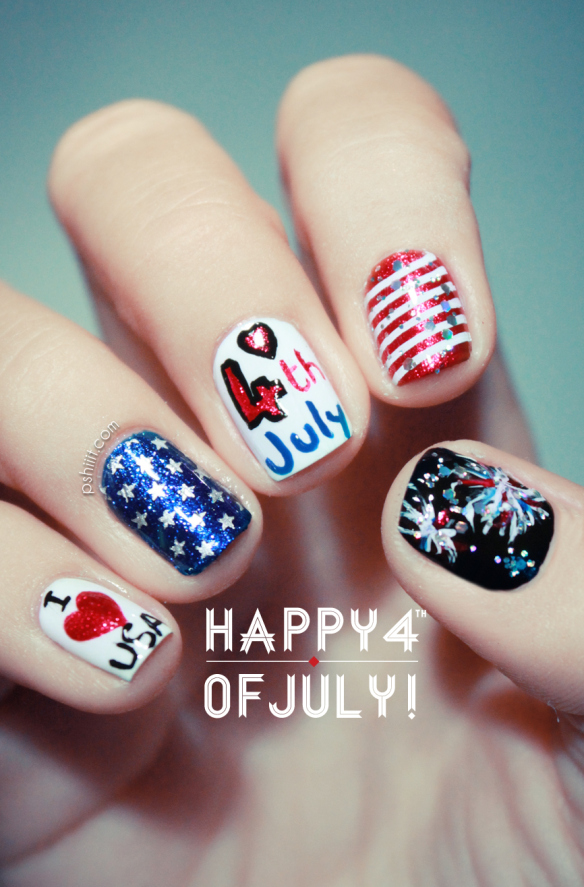 Fun July 4th Nail Art Ideas. We hold these truths to be self-evident, that red, white, and blue nail art is a must-have for Independence Day.