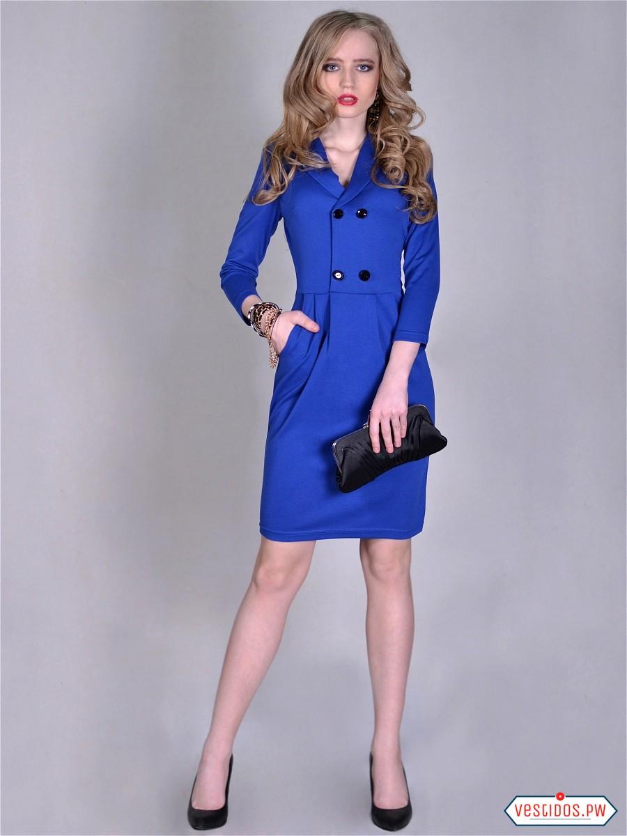 Vestidos azules cortos con manga
