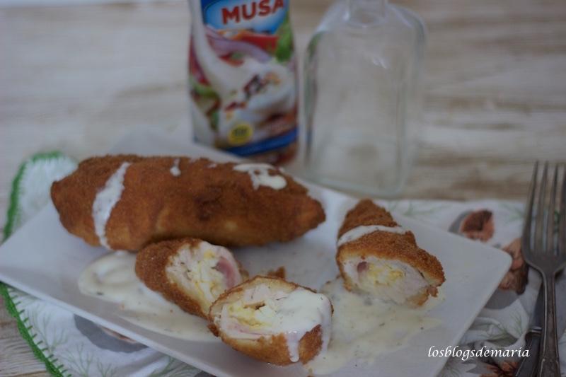 Rollitos de pollo con salsa de yogur , receta sin gluten