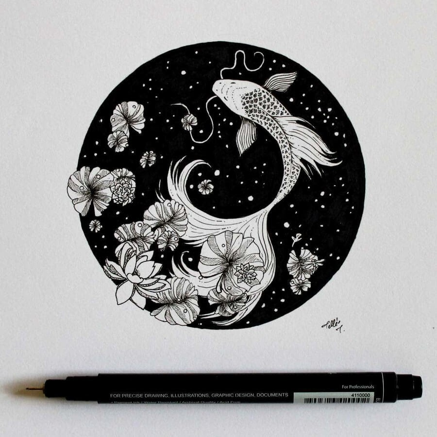 07-Koi-Fish-Tímea-Tellér-Ink-Black-and-White-Illustrations-www-designstack-co