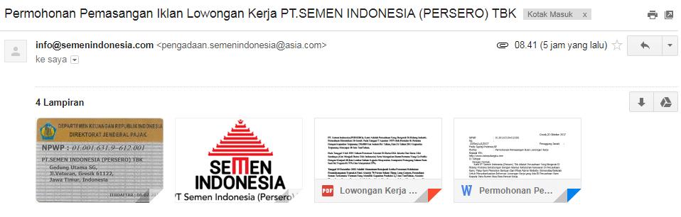 Contoh Penipuan Informasi Lowongan Kerja Pt Semen Indonesia 2019