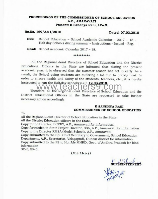 A.P R.C No 163 - Half-day schools starts from 12.03.2018 -instructions