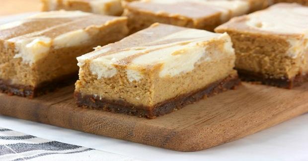 Swirled Pumpkin Pie Cheesecake Bars With Gingersnap Crust Recipe ...