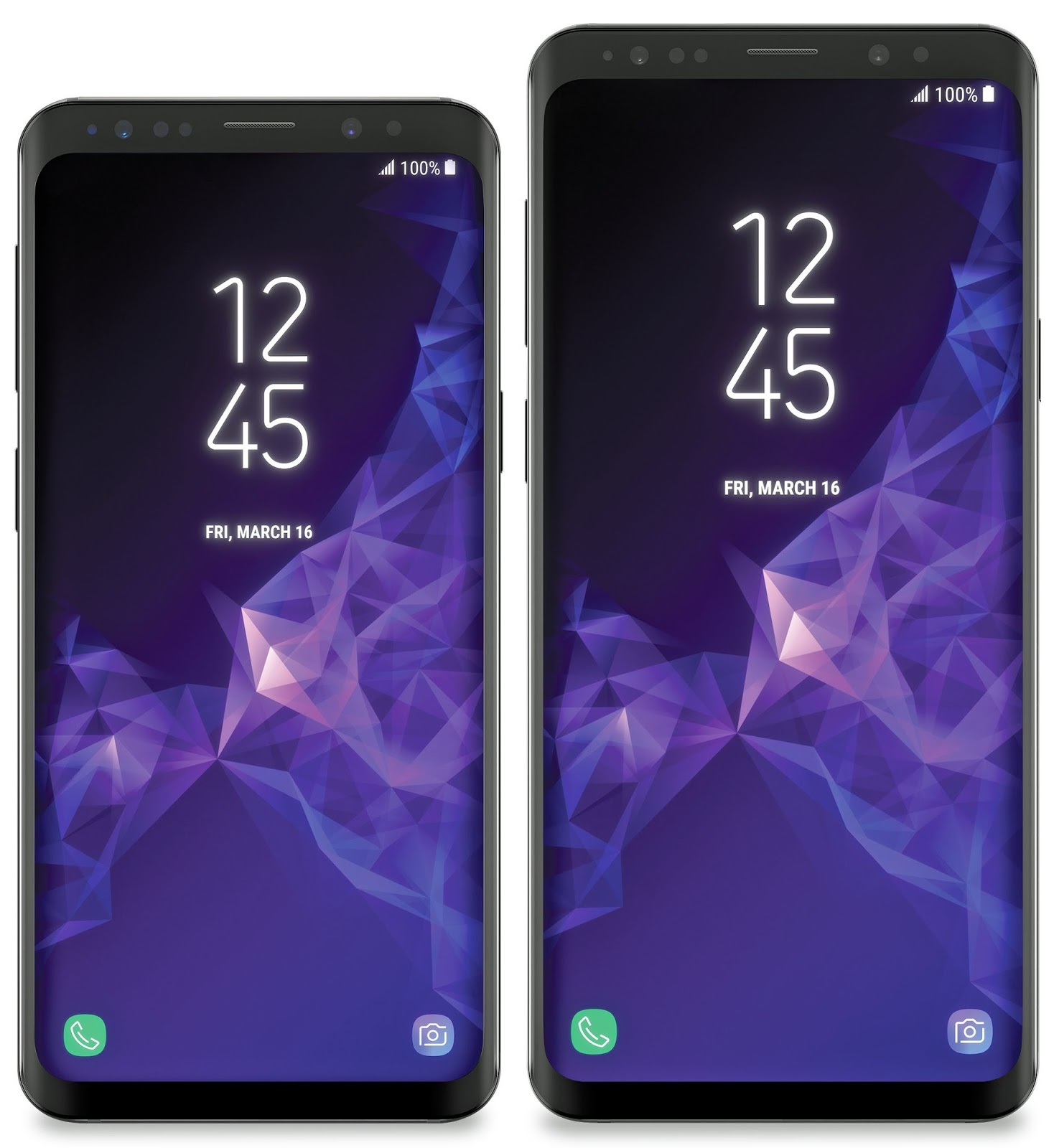 The Samsung Galaxy S9 and s9 plus only front view, with large visible bezels