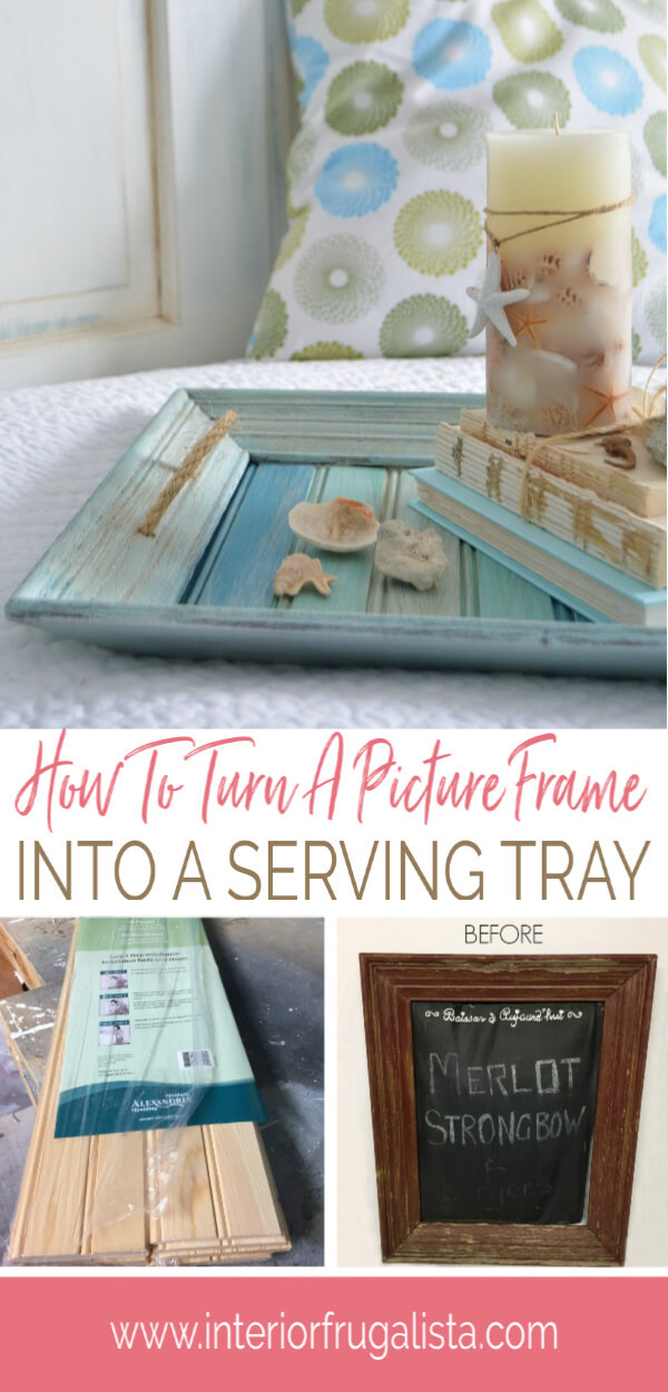 How to easily repurpose a picture frame into a handy serving tray for summer with wood slats painted pretty coastal colors and sisal rope handles. #coastaltray #repurposedpictureframe