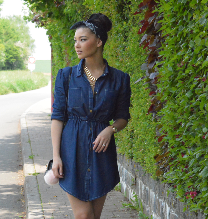 Denim Shirt Dress, Shirt Dress Outfit, Vintage Women Long Sleeve Elastic Waist Shirt Demin Dress, Oasap, Paisley Bandana Scarf, Pom Pom Keychain, Lace Up Flats