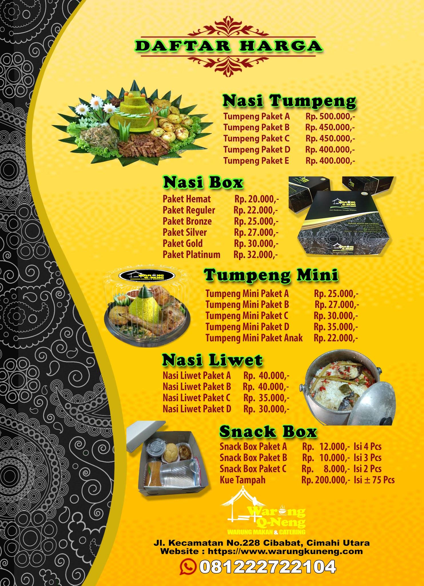 Daftar Harga Catering di Cimahi