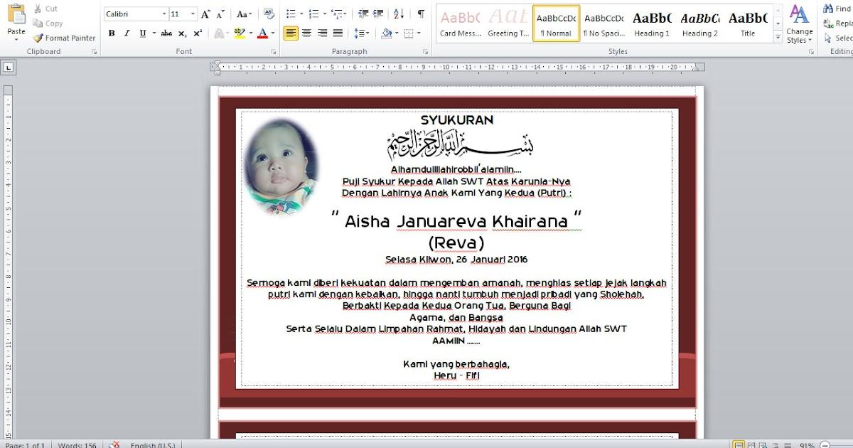 Download Desain Aqiqah Selapanan Tasyakuran Format Ms Word