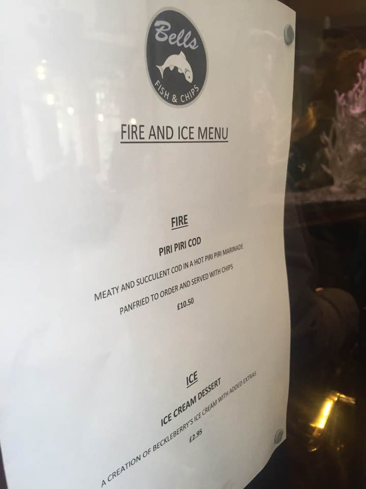 Fire and Ice Durham 2017 | Photographs & Top Tips for 2018 - Fire and Ice Menu at Bells Fish and Chip Restaurant