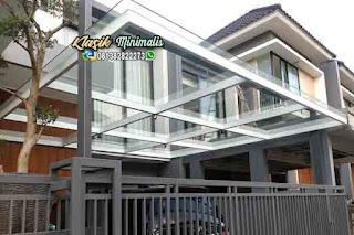 Kanopi minimalis atap kaca tempered