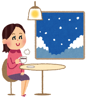 冬のカフェのイラスト