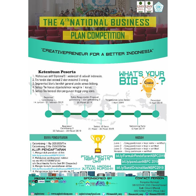 Lomba 4th National Business Plan 2019 Mahasiswa