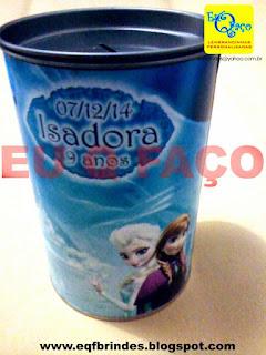 Cofrinho Frozen, lembrancinha frozen, brinde frozen, tema frozen, festa frozen