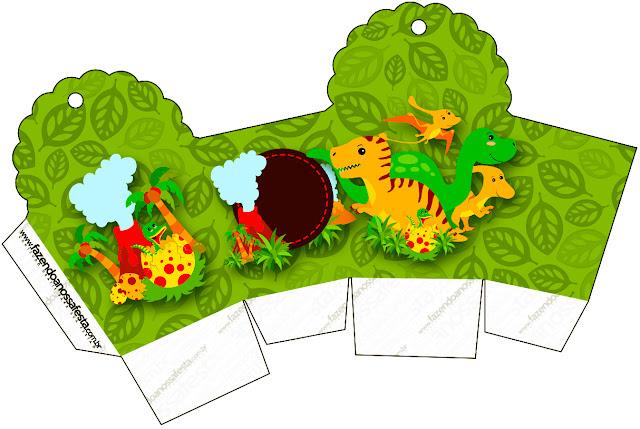 Caja para cupcakes, chocolates o golosinas de Fiesta de Dinosaurios.