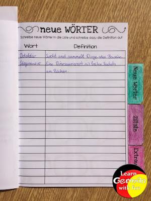 Grundschüler lesen Bücher und schreiben unbekannte Wörter und Definition auf