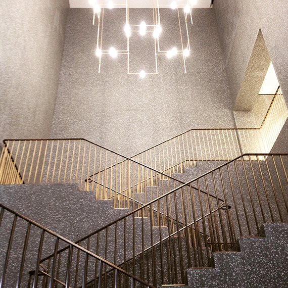 Terrazzo staircase in Valentino Flagship store in Rome by David Chipperfield Architects (photo by Gustav Szymala)