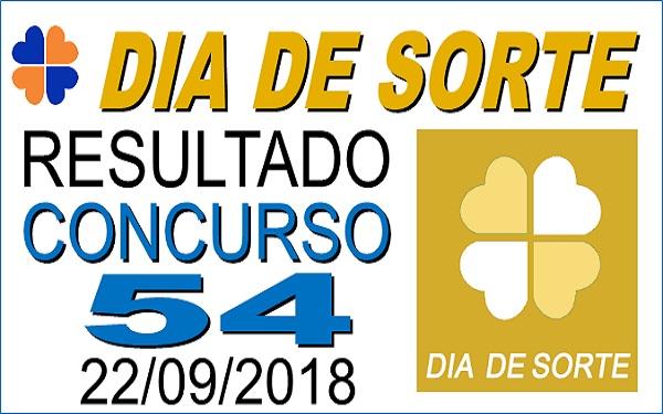Resultado do Dia de Sorte concurso 54 de 22/09/2018 (Imagem: Informe Notícias)