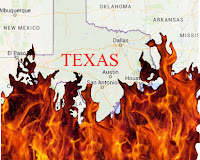 Texas burning a graphic by Erika Grey showing a map of Texas engulfed in flames.