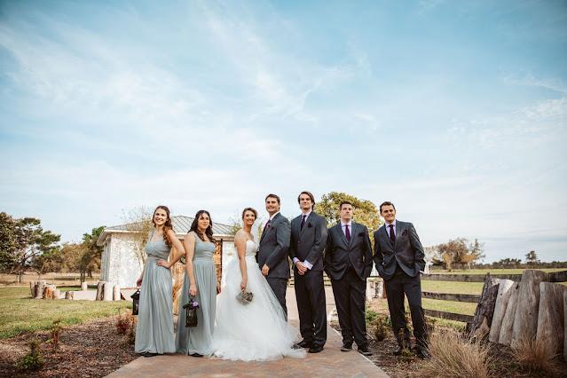 Bridesmaids and groomsmen photo