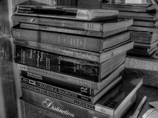 A pile of library books in black and white, including Durkheim, Giddens and Bourdieu.
