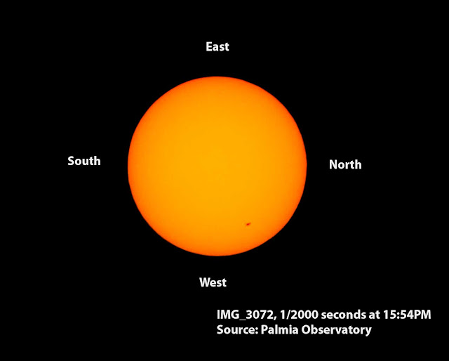No, the sunspot did not move that much.  Note cardinal points show image rotation with/Az non-tracking mount (Source: Palmia Observatory)