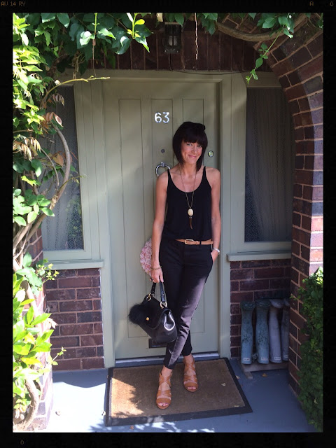 My Midlife Fashion, Zara, Clarks, Ghost, ASOS, Camisole, Tan Sandals, Cigarette Trousers, Tusk Pendant Necklace