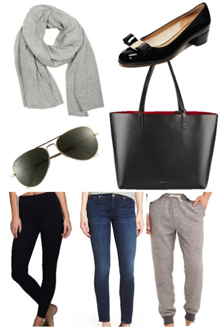 cashmere travel wrap, ferragamo vara, ray ban aviator, mansur gavriel tote, lululemon high times pant, true religion halle leggings, j.crew sweat pants